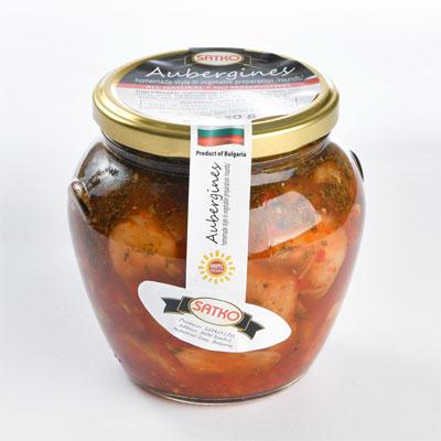 Fried eggplant homemade style in sweet-piquant sauce Adjika